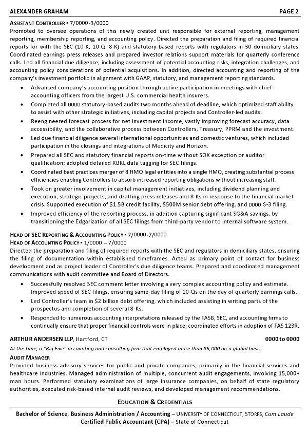 Resume Sample   Controller CFO Page 2  Sample Resume For Accounting