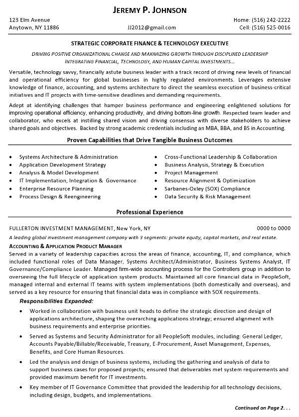 Resume Sample   Finance Tech Executive Page 1  Winning Resume Examples