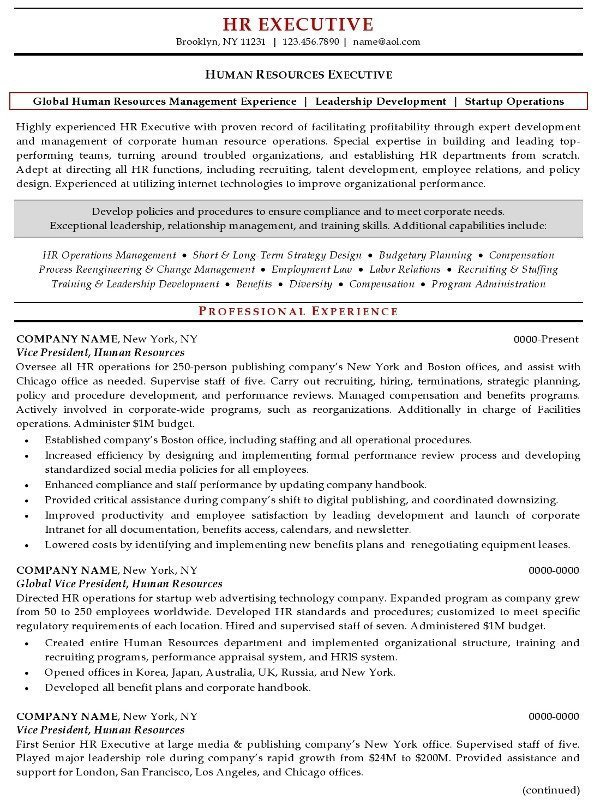 Resume Sle 20 Human Resources Executive Career Resumes