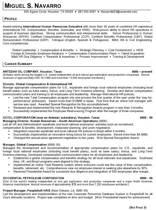 Resume Sample   International Human Resources Executive Page 1  Human Resource Resume Examples