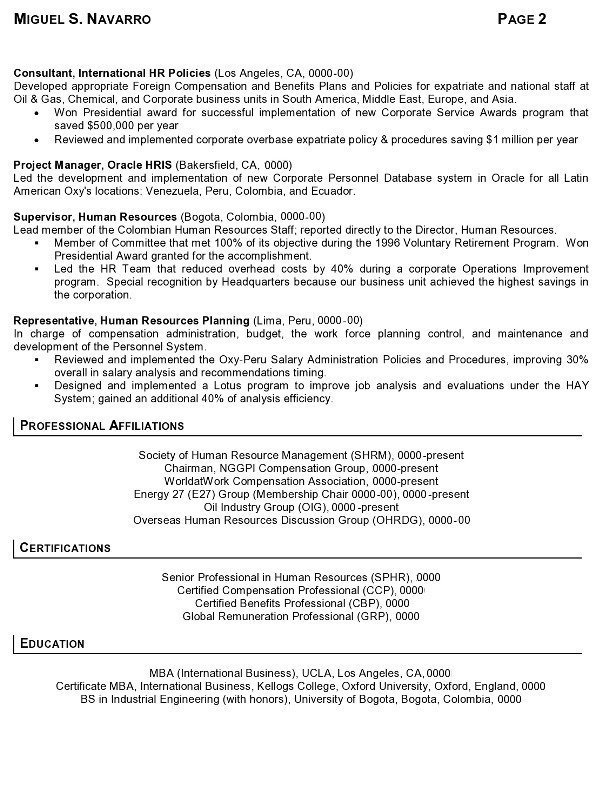 Resume Sample   International Human Resources Executive Page 2  Human Resource Management Resume