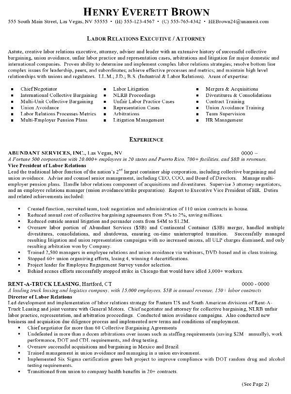 Resume Sample Labor Relations Executive Page 1