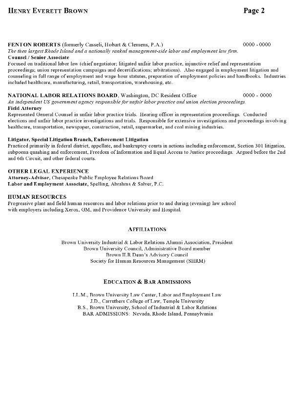 Resume Sample Labor Relations Executive Page 2  Attorney Resume