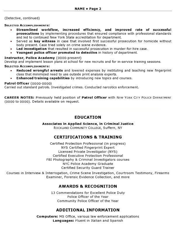 Resume Sample   Law Enforcement Professional Page 2  Security Guard Sample Resume