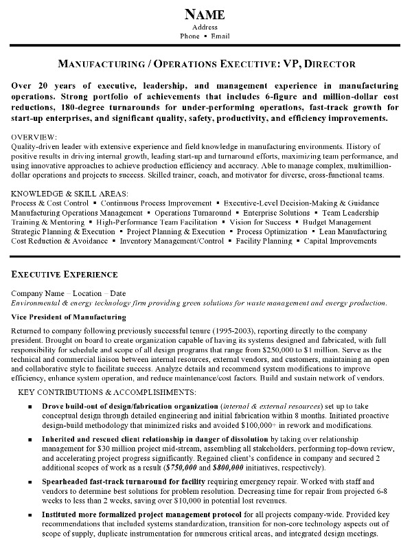 Resume Sample 12 Manufacturing and Operations Executive resume – Resume Format for It Manager
