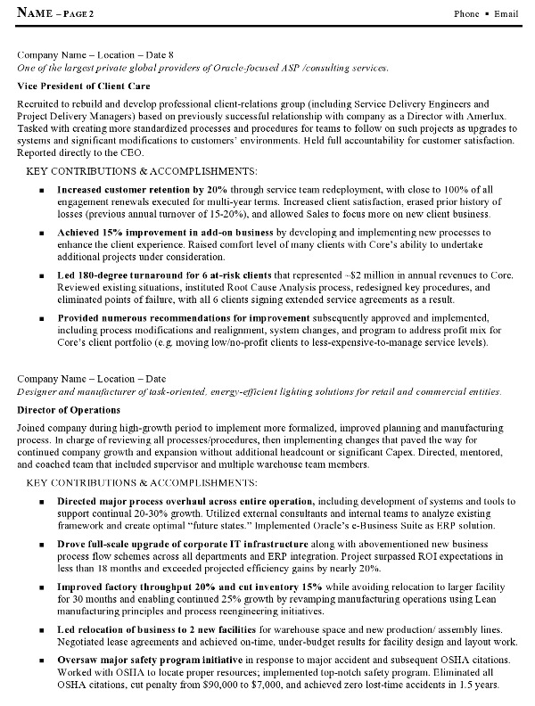 Resume Examples Operations Executive  Template
