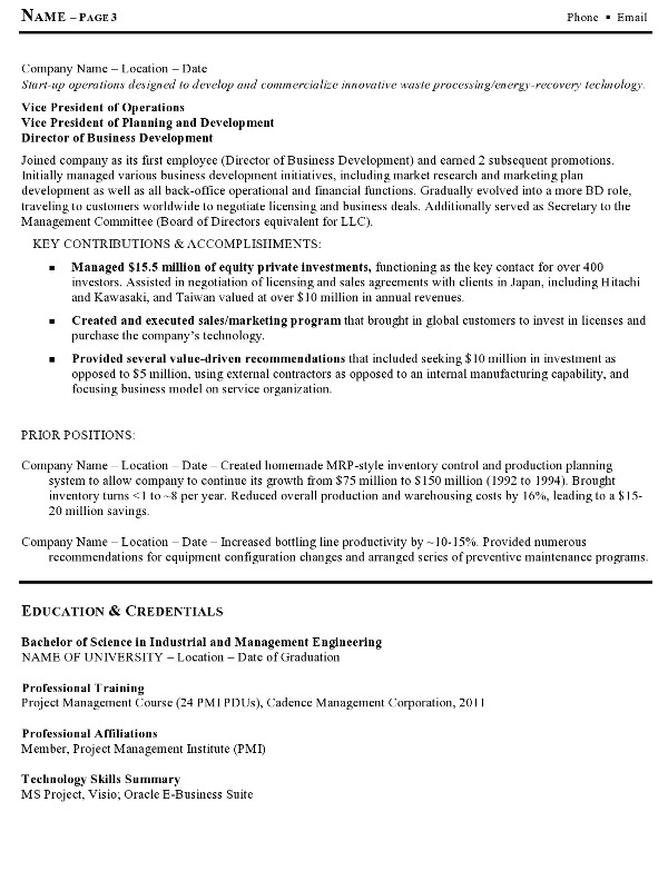 Resume Sample 12 - Manufacturing And Operations Executive Resume