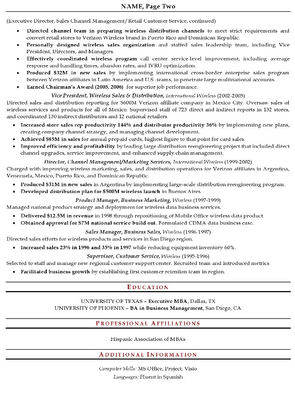 Resume Sample   Senior Sales Executive Page 2  Executive Format Resume