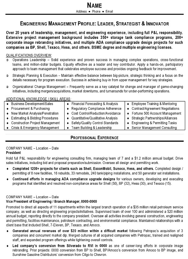 Sample Resume   Engineering Management Page 1  Professional Engineer Resume