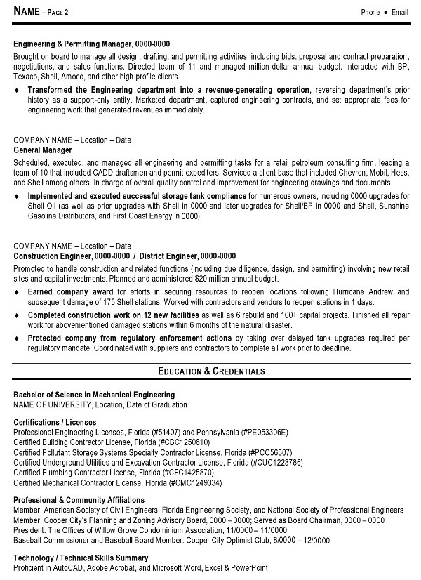 Sample Resume   Engineering Management Page 2  Example Resume Summary