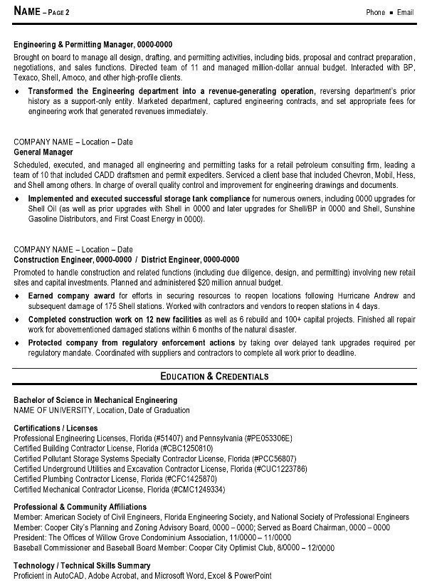 Sample Resume - Engineering Management