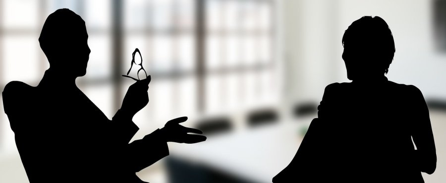 trending skills feedback. Silhouette of professional man and woman have a discussion