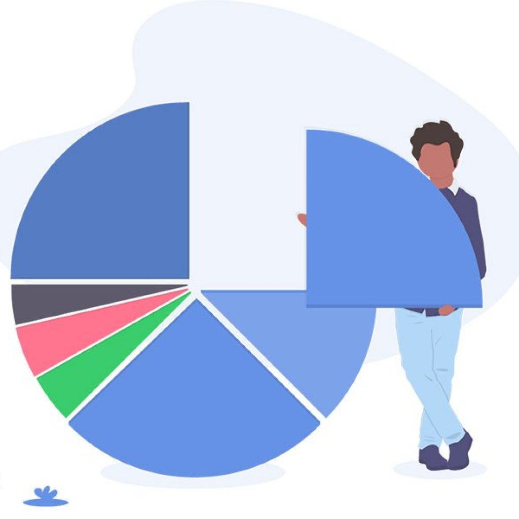 infographic resume. Illustration of a man holding a piece of a pie chart in his arms, standing next to the completed chart.
