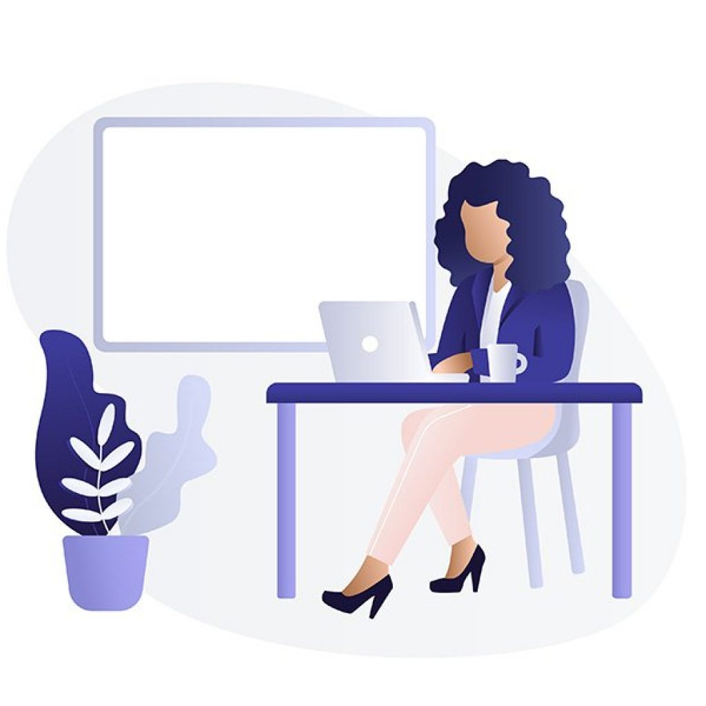 LinkedIn featured section. Image shows an illustration of a woman at a desk working on a laptop.